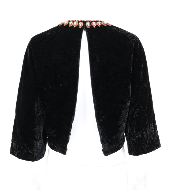 GUCCI c.1970s Black Crushed Velvet Bead Embellished Bohemian Cropped Blouse RARE For Sale 4