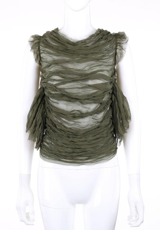 "ALEXANDER McQUEEN S/S 2003 ""Irene"" Olive Green Silk Chiffon Lace Back Blouse 2"