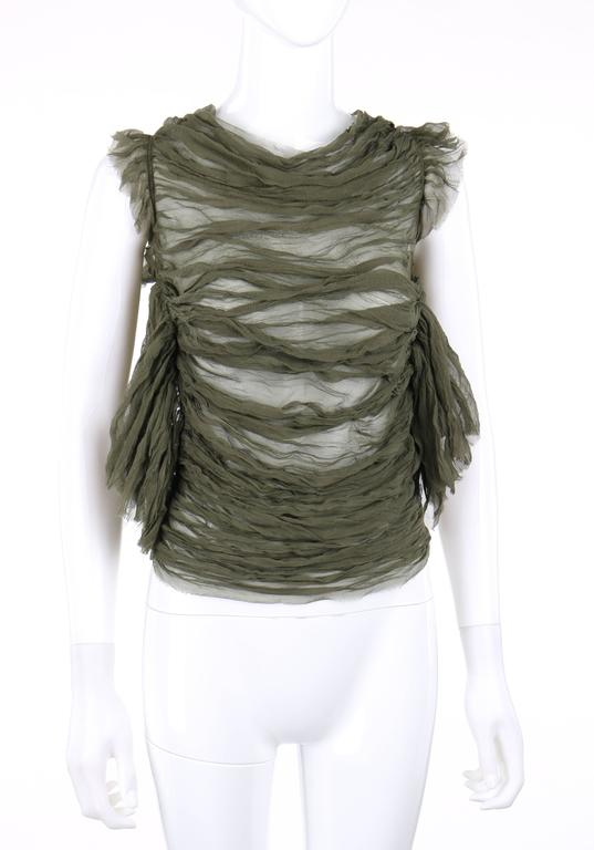 "ALEXANDER McQUEEN S/S 2003 ""Irene"" Olive Green Silk Chiffon Lace Back Blouse 3"