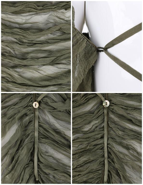 "ALEXANDER McQUEEN S/S 2003 ""Irene"" Olive Green Silk Chiffon Lace Back Blouse 8"