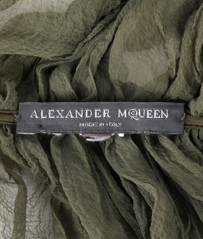 "ALEXANDER McQUEEN S/S 2003 ""Irene"" Olive Green Silk Chiffon Lace Back Blouse 9"