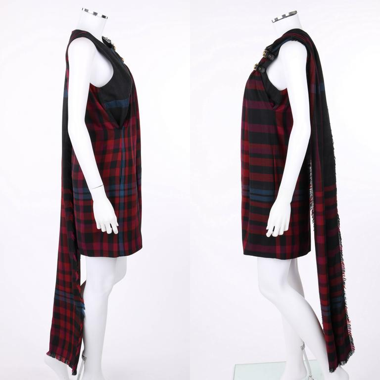 GUCCI A/W 2008 Red & Blue Tartan Plaid Wool Silk Kilt Shift Dress NWT In New Condition For Sale In Thiensville, WI