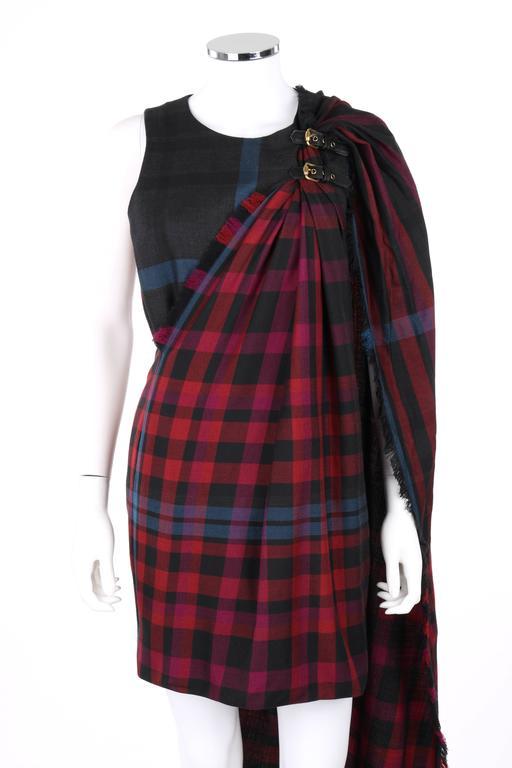 Black GUCCI A/W 2008 Red & Blue Tartan Plaid Wool Silk Kilt Shift Dress NWT For Sale
