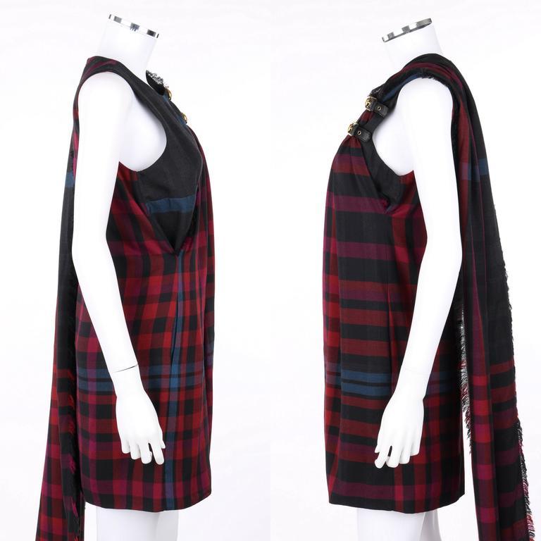 Women's GUCCI A/W 2008 Red & Blue Tartan Plaid Wool Silk Kilt Shift Dress NWT For Sale