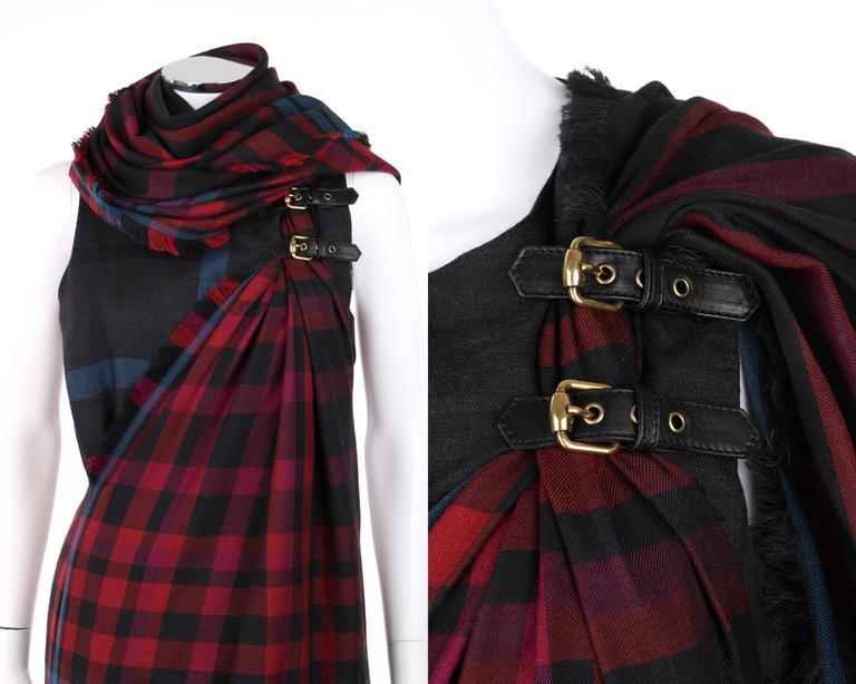 GUCCI A/W 2008 Red & Blue Tartan Plaid Wool Silk Kilt Shift Dress NWT For Sale 3