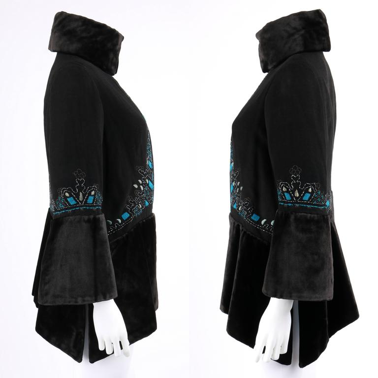 COUTURE c.1910's Edwardian Black Peacock Blue Velvet Detail Embroidered Jacket In Excellent Condition For Sale In Thiensville, WI