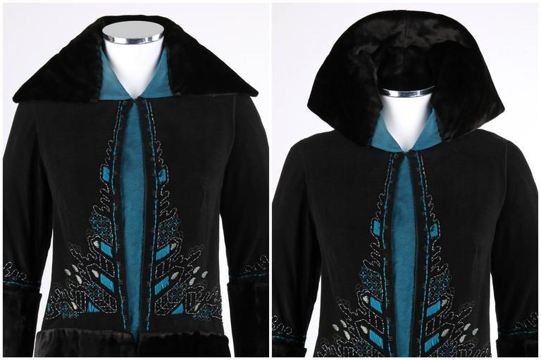 Women's COUTURE c.1910's Edwardian Black Peacock Blue Velvet Detail Embroidered Jacket For Sale