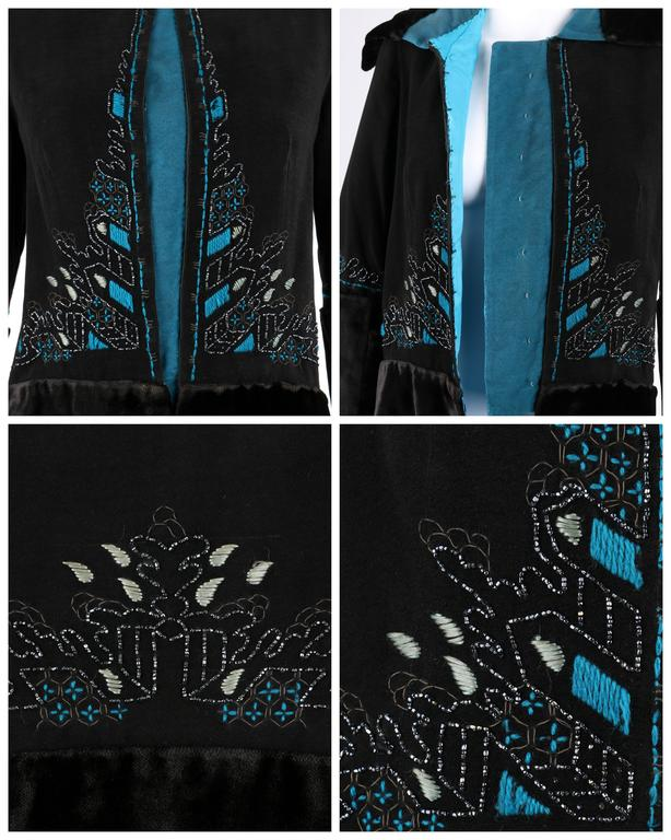 COUTURE c.1910's Edwardian Black Peacock Blue Velvet Detail Embroidered Jacket For Sale 1