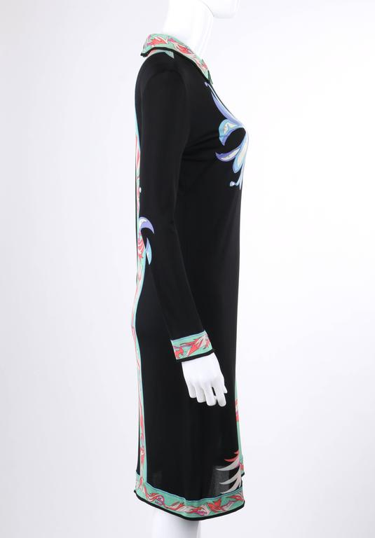 Blue EMILIO PUCCI c.1970's Mint Green & Black Colorblock Floral Signature Print Dress For Sale