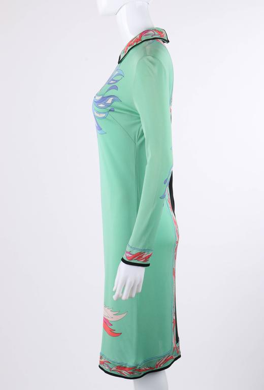 Women's EMILIO PUCCI c.1970's Mint Green & Black Colorblock Floral Signature Print Dress For Sale