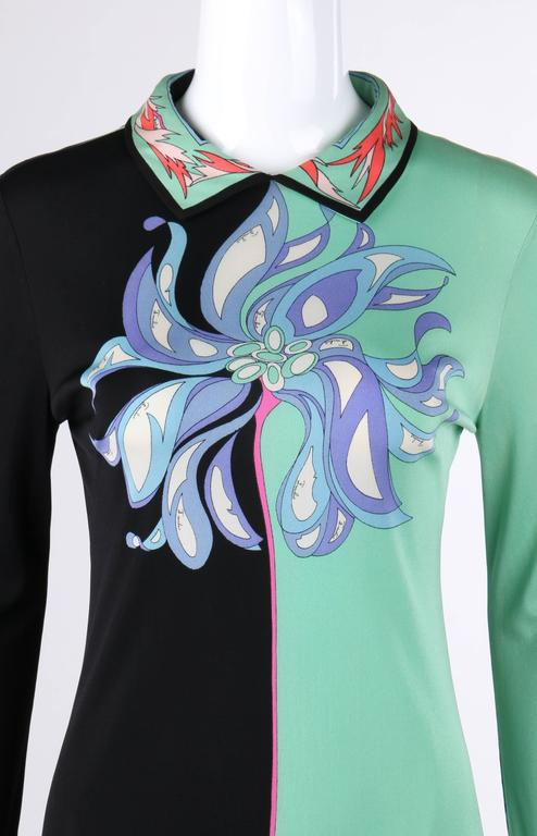 EMILIO PUCCI c.1970's Mint Green & Black Colorblock Floral Signature Print Dress For Sale 1