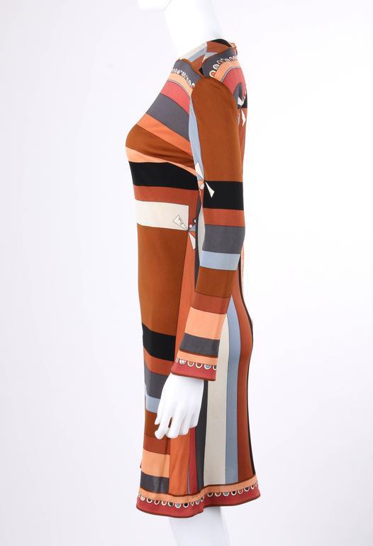 """EMILIO PUCCI c.1968 """"Colletti"""" Print Brown Multicolor Silk Jersey Shift Dress For Sale 1"""