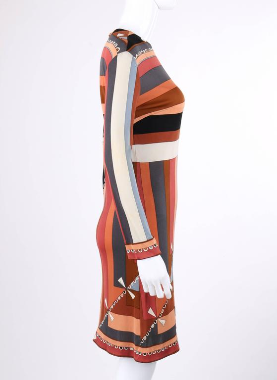 "EMILIO PUCCI c.1968 ""Colletti"" Print Brown Multicolor Silk Jersey Shift Dress In Excellent Condition For Sale In Thiensville, WI"