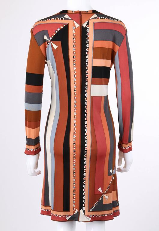 """Women's EMILIO PUCCI c.1968 """"Colletti"""" Print Brown Multicolor Silk Jersey Shift Dress For Sale"""