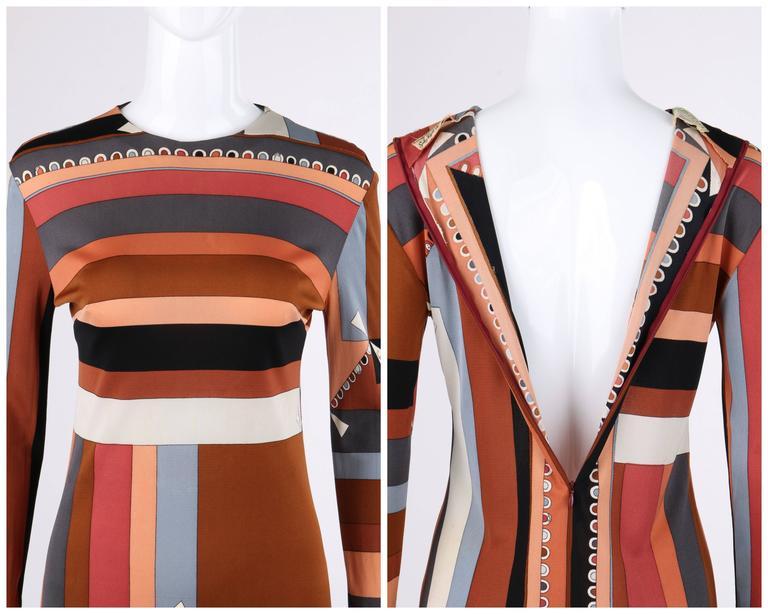 """EMILIO PUCCI c.1968 """"Colletti"""" Print Brown Multicolor Silk Jersey Shift Dress For Sale 2"""