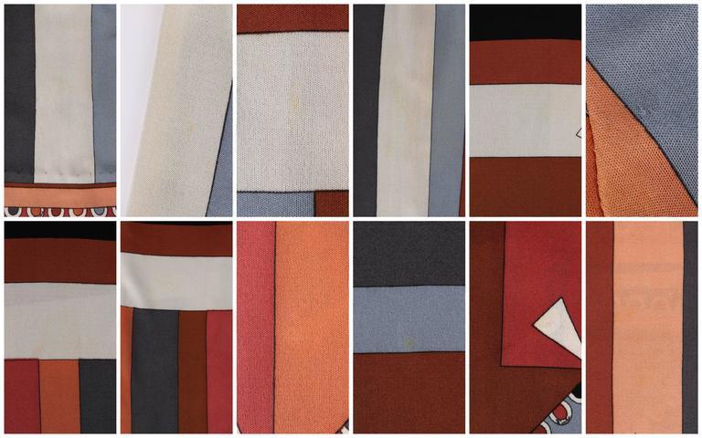 """EMILIO PUCCI c.1968 """"Colletti"""" Print Brown Multicolor Silk Jersey Shift Dress For Sale 5"""