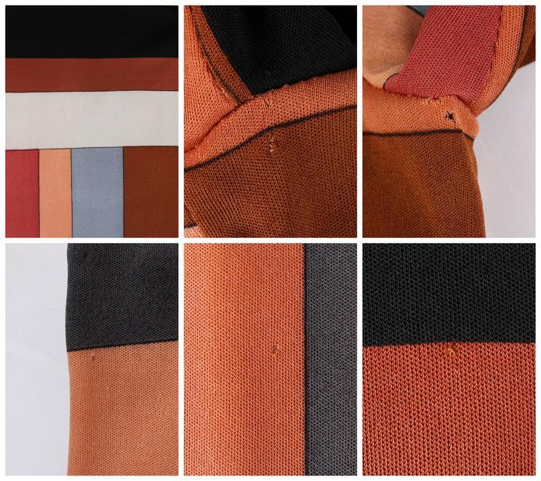 """EMILIO PUCCI c.1968 """"Colletti"""" Print Brown Multicolor Silk Jersey Shift Dress For Sale 4"""