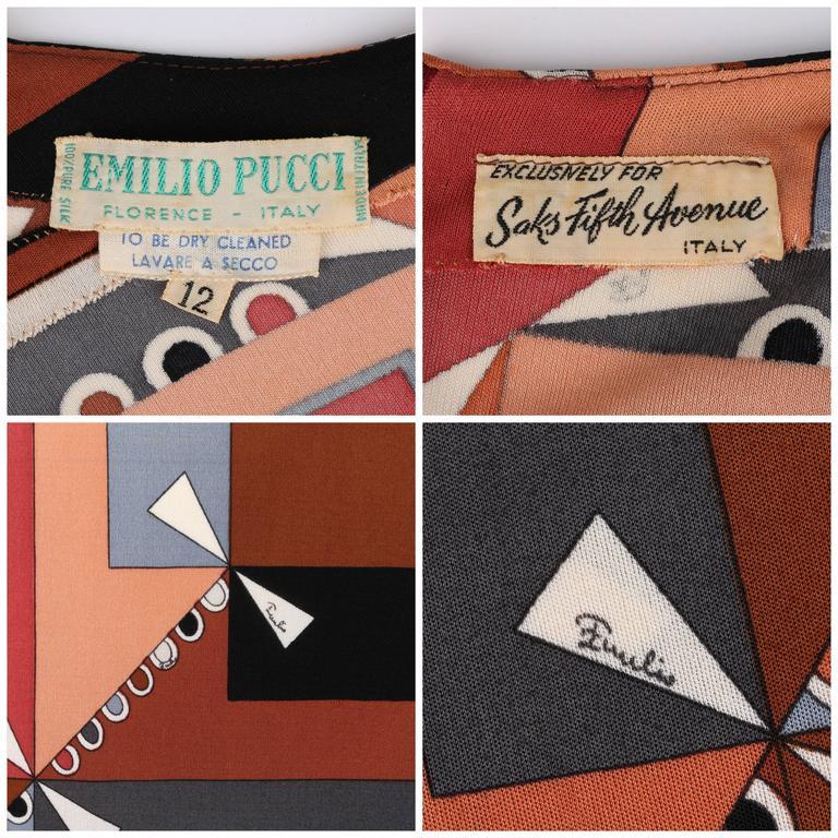 """EMILIO PUCCI c.1968 """"Colletti"""" Print Brown Multicolor Silk Jersey Shift Dress For Sale 3"""