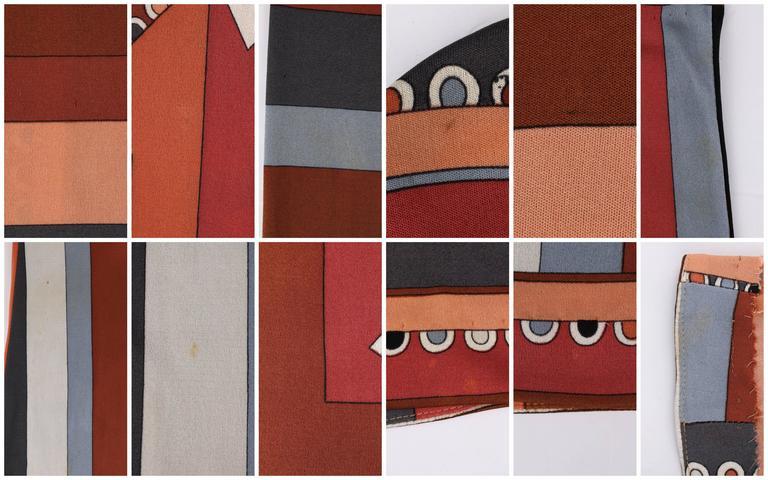 """EMILIO PUCCI c.1968 """"Colletti"""" Print Brown Multicolor Silk Jersey Shift Dress For Sale 6"""