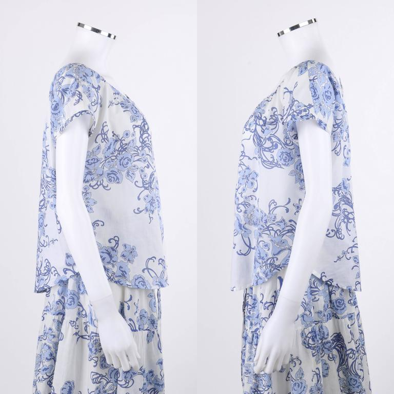 EMILIO PUCCI c.1970's 2 Pc White & Blue Floral Cotton Blouse Skirt Dress Set In Excellent Condition For Sale In Thiensville, WI