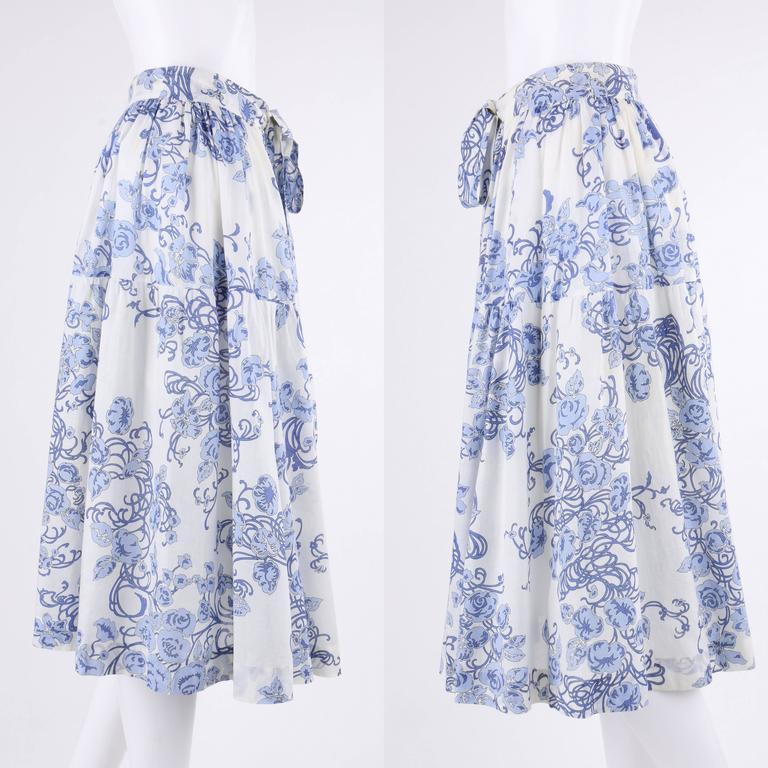 EMILIO PUCCI c.1970's 2 Pc White & Blue Floral Cotton Blouse Skirt Dress Set For Sale 1