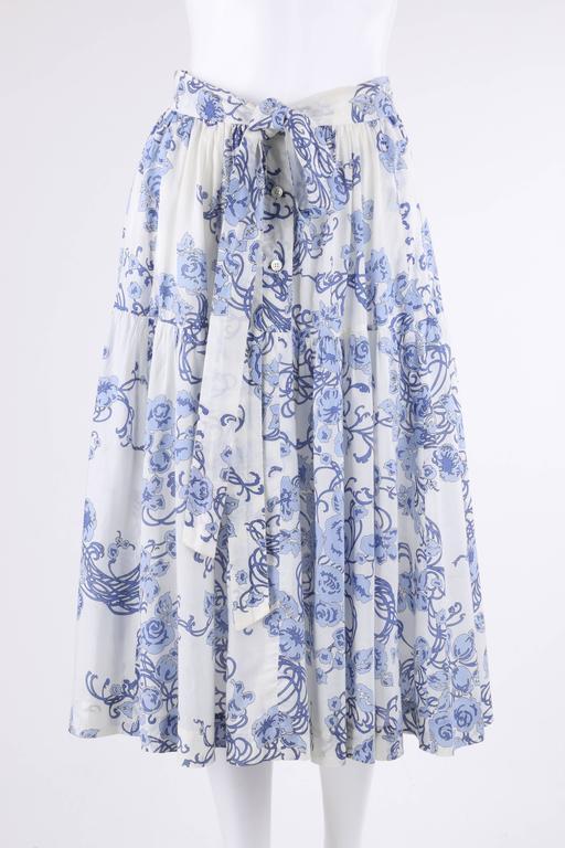 Women's EMILIO PUCCI c.1970's 2 Pc White & Blue Floral Cotton Blouse Skirt Dress Set For Sale