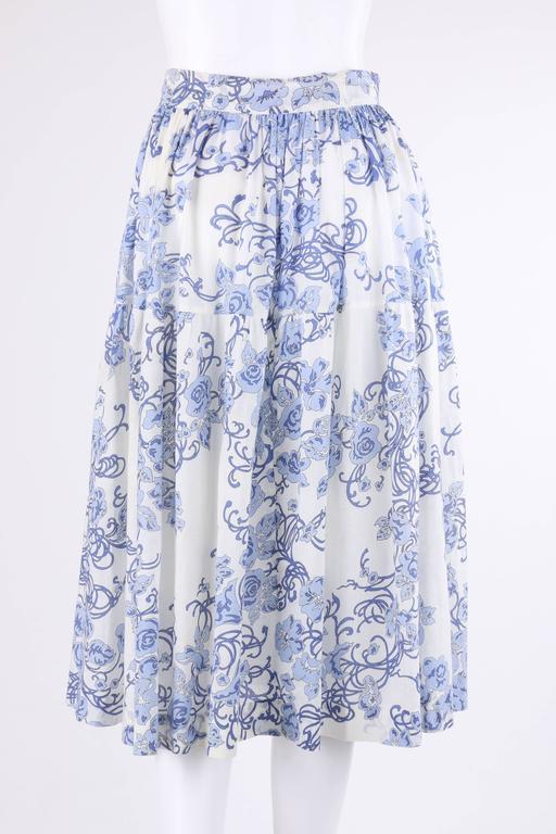 EMILIO PUCCI c.1970's 2 Pc White & Blue Floral Cotton Blouse Skirt Dress Set For Sale 2