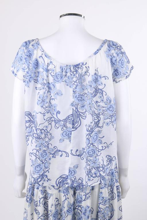 Purple EMILIO PUCCI c.1970's 2 Pc White & Blue Floral Cotton Blouse Skirt Dress Set For Sale