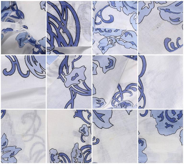 EMILIO PUCCI c.1970's 2 Pc White & Blue Floral Cotton Blouse Skirt Dress Set For Sale 4