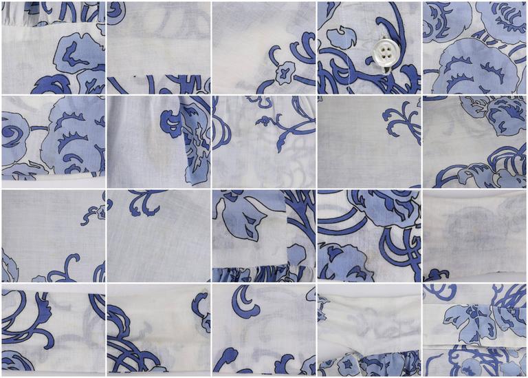 EMILIO PUCCI c.1970's 2 Pc White & Blue Floral Cotton Blouse Skirt Dress Set For Sale 5