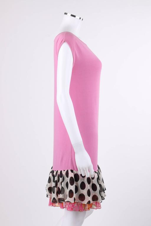 "CHANEL S/S 2007 Pink Cotton Knit ""CC"" Embroidered Ruffle Hem Shift Dress 4"
