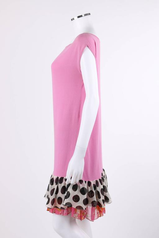 "CHANEL S/S 2007 Pink Cotton Knit ""CC"" Embroidered Ruffle Hem Shift Dress 6"