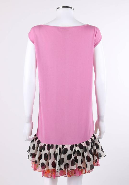 "CHANEL S/S 2007 Pink Cotton Knit ""CC"" Embroidered Ruffle Hem Shift Dress 5"