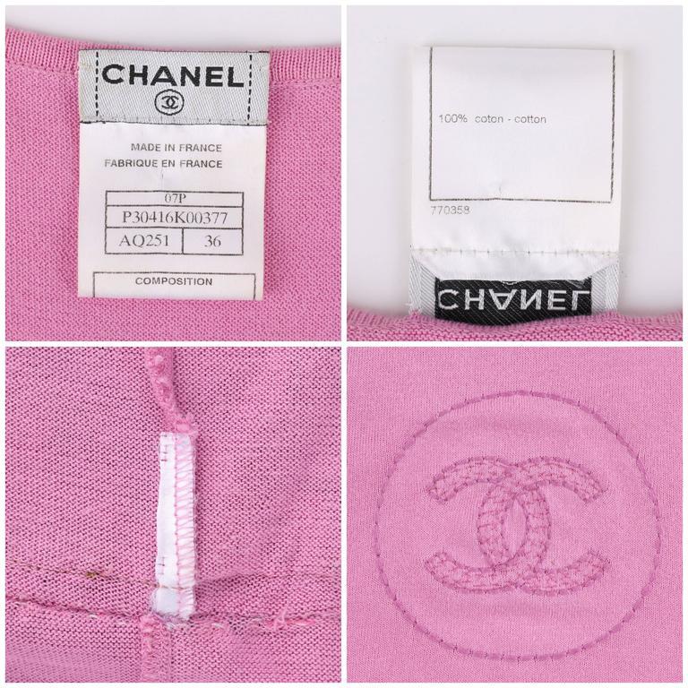 "CHANEL S/S 2007 Pink Cotton Knit ""CC"" Embroidered Ruffle Hem Shift Dress 7"