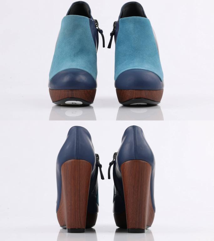 BALENCIAGA Light on Dark Blue Suede Colorblock Wooden Wedge Platform Heels 5