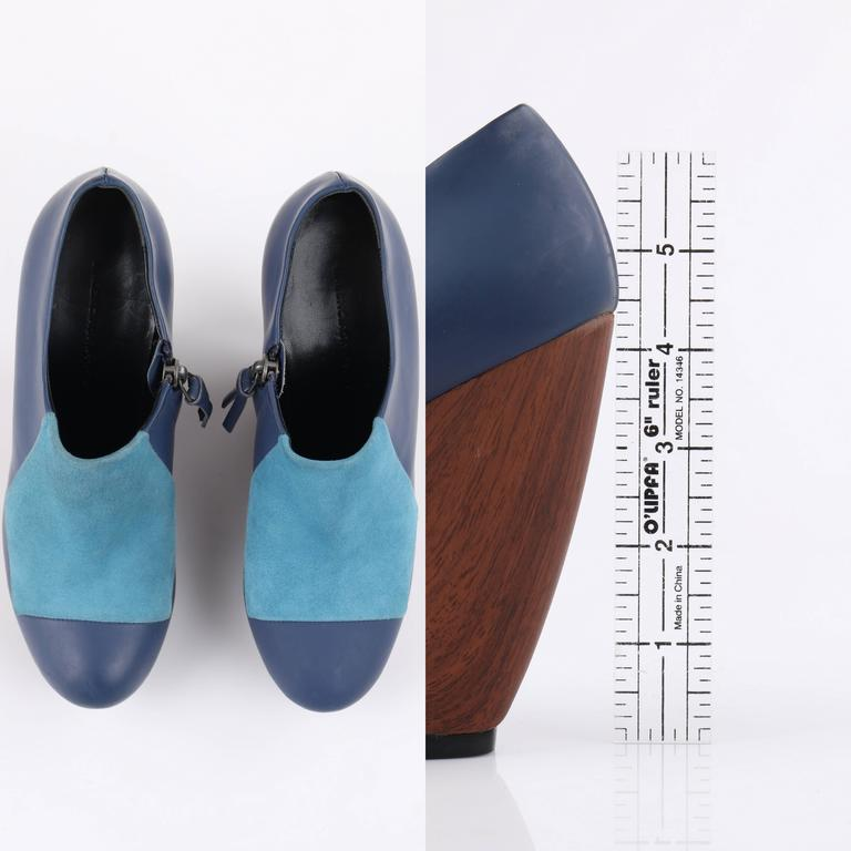 BALENCIAGA Light on Dark Blue Suede Colorblock Wooden Wedge Platform Heels 7