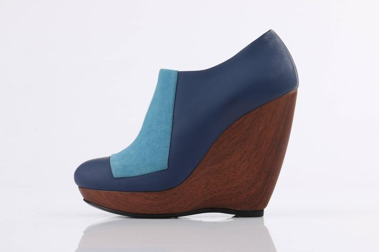 Gray BALENCIAGA Light on Dark Blue Suede Colorblock Wooden Wedge Platform Heels For Sale