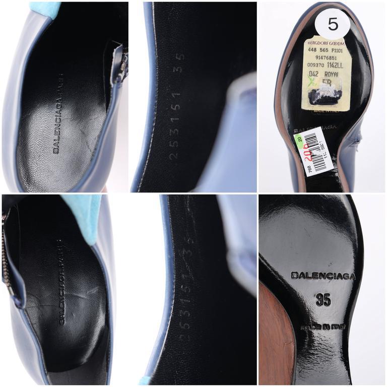 BALENCIAGA Light on Dark Blue Suede Colorblock Wooden Wedge Platform Heels 9