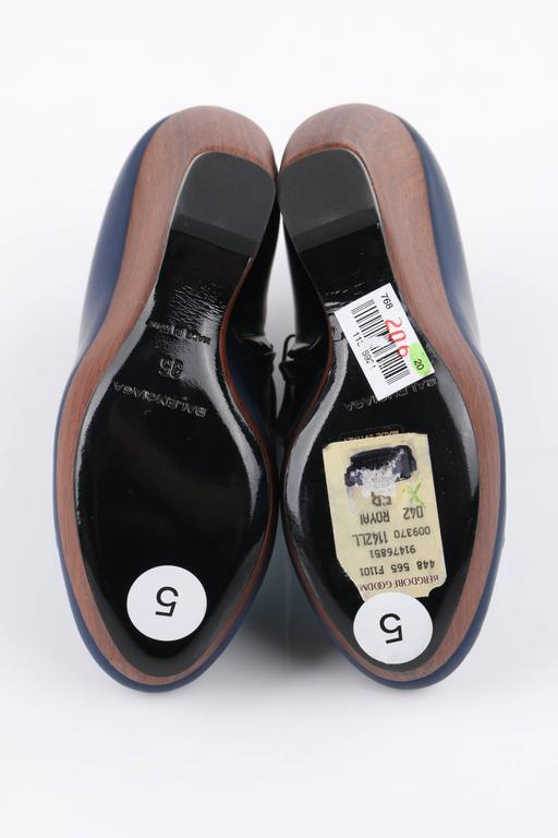 BALENCIAGA Light on Dark Blue Suede Colorblock Wooden Wedge Platform Heels 8