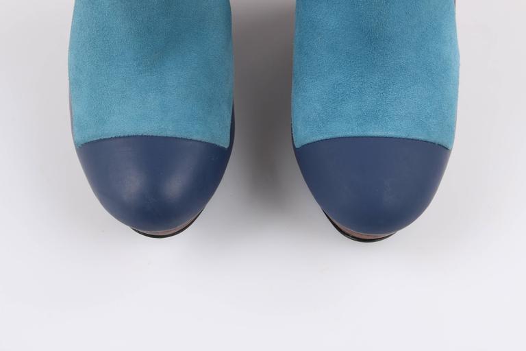 BALENCIAGA Light on Dark Blue Suede Colorblock Wooden Wedge Platform Heels 6
