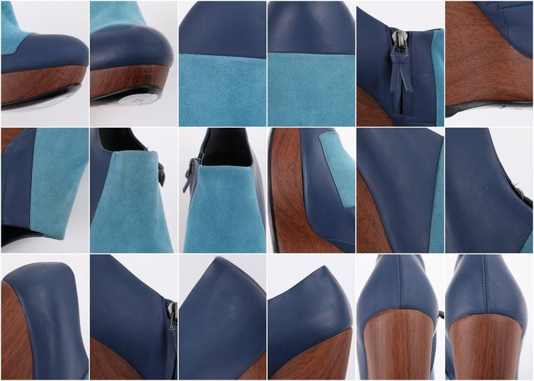 BALENCIAGA Light on Dark Blue Suede Colorblock Wooden Wedge Platform Heels 10