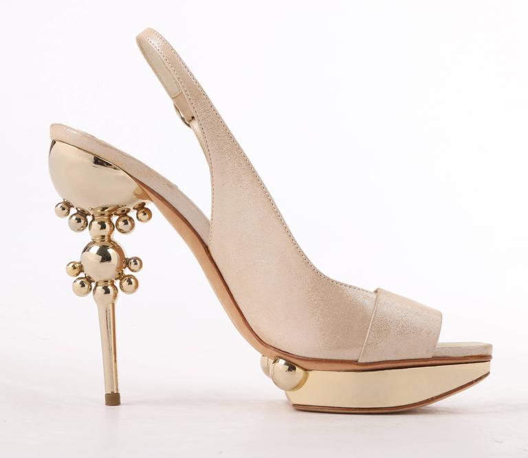 Women's CHRISTIAN DIOR Resort 2008 Beige Metallic Gold Suede Sculpted Heel Platform Pump For Sale
