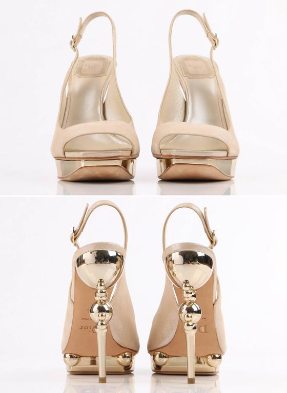 CHRISTIAN DIOR Resort 2008 Beige Metallic Gold Suede Sculpted Heel Platform Pump For Sale 1