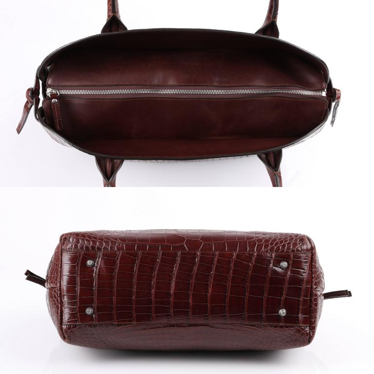 Women's BRUNELLO CUCINELLI Brown Genuine Crocodile Satchel Handbag Purse For Sale