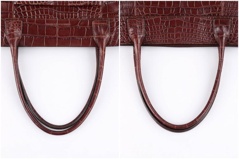 BRUNELLO CUCINELLI Brown Genuine Crocodile Satchel Handbag Purse For Sale 5