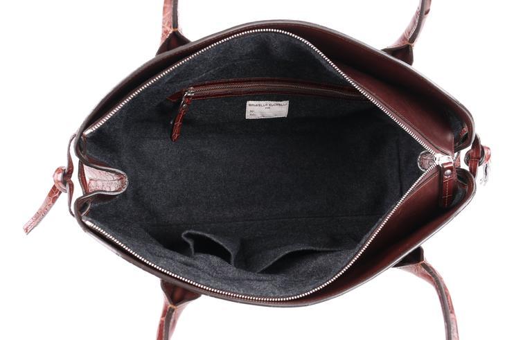 BRUNELLO CUCINELLI Brown Genuine Crocodile Satchel Handbag Purse For Sale 1