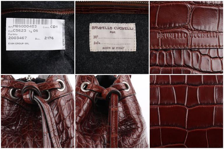 BRUNELLO CUCINELLI Brown Genuine Crocodile Satchel Handbag Purse For Sale 4