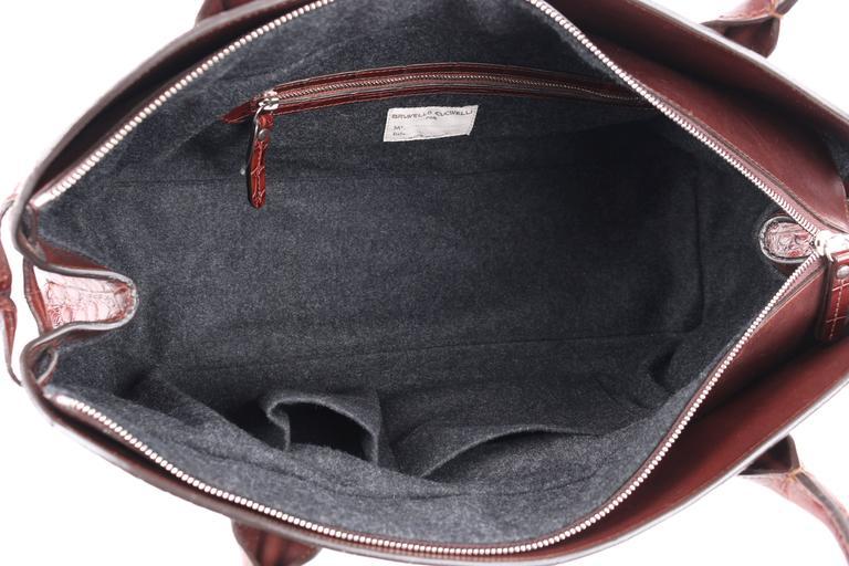 BRUNELLO CUCINELLI Brown Genuine Crocodile Satchel Handbag Purse For Sale 2
