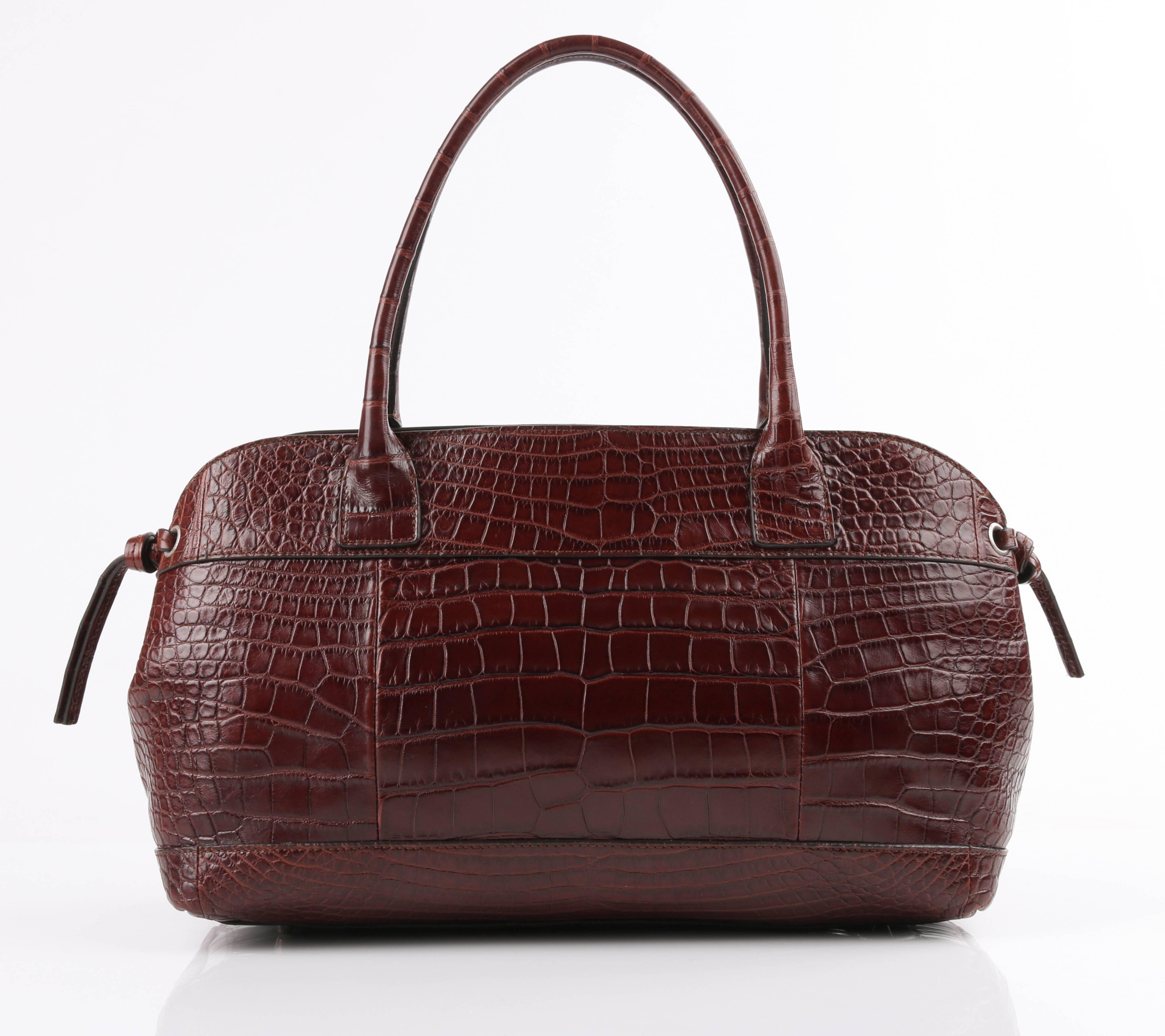 Brunello Cucinelli Brown Genuine Crocodile Satchel Handbag Purse For 4ab914b9a1