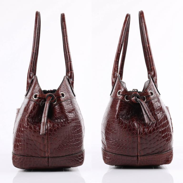 BRUNELLO CUCINELLI Brown Genuine Crocodile Satchel Handbag Purse In Excellent Condition For Sale In Thiensville, WI